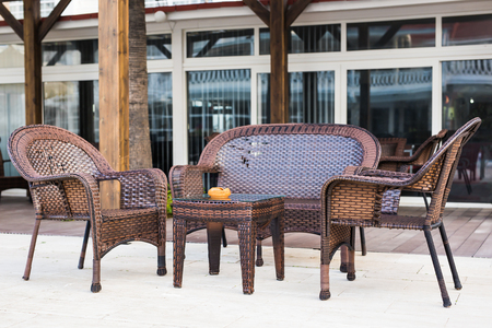 round chairs: Street cafe. Cozy outdoor restaurant