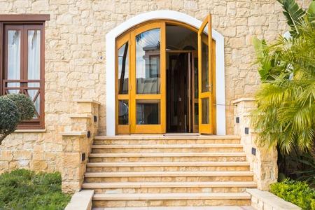 Wooden front door of a home