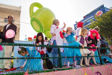 LIMASSOL, CYPRUS - FEBRUARY 26: Children Carnival takes part in Children carnival parade, February 26, 2017 in Limassol, Cyprus