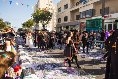 fiesta popular: LIMASSOL, CYPRUS - FEBRUARY 26: Grand Carnival Parade - an unidentified people of all ages ,gender and nationality in colorful costumes during the street carnival, February 26, 2017 in Limassol