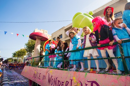 LIMASSOL, CYPRUS - FEBRUARY 26: Children Carnival takes part in Children carnival parade, February 26, 2017 in Limassol, Cyprus