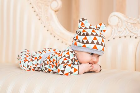 three months old: Adorable Caucasian baby. Portrait of a three months old baby boy Stock Photo