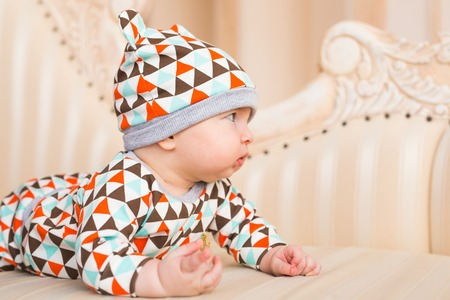 Adorable Caucasian baby. Portrait of a three months old baby boy Stock Photo
