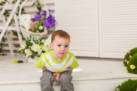 Little boy showing stomach pain