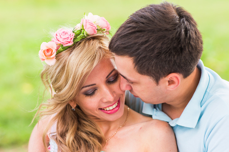 Portrait of happy Couple in love outdoors Stock Photo