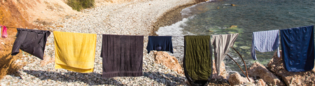 undergarments: Washed clothes drying in the sun