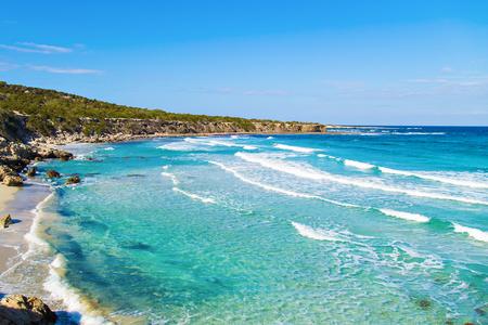 A view of a Blue Lagoon near Polis city, Akamas Peninsula National Park, Cyprus.