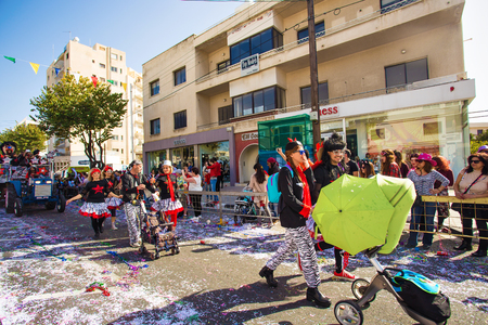buffoon: LIMASSOL, CYPRUS - FEBRUARY 26: Carnival participants on Cyprus Carnival Parade on February 26, 2017 in Limassol