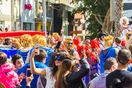 buffoon: LIMASSOL, CYPRUS - FEBRUARY 26: Unidentified Carnival participants march in Cyprus Carnival Parade on FEBRUARY 26, 2017 in Limassol, Cyprus Editorial