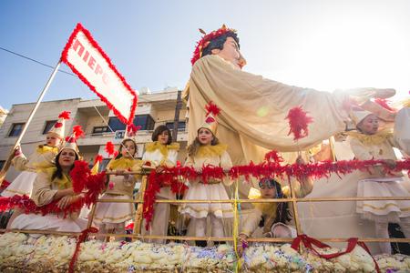 LIMASSOL, CYPRUS - FEBRUARY 26: Big funny dolls in Cyprus carnival parade, February 26, 2017 in Limassol, Cyprus