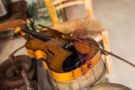 Old vintage violin Stock Photo