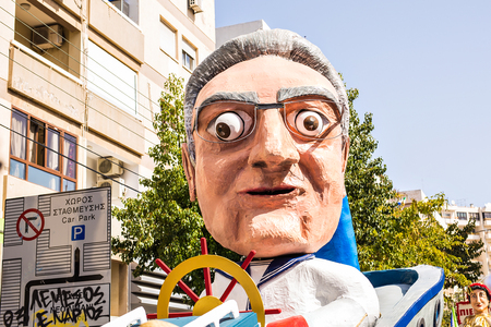 flower parade: LIMASSOL, CYPRUS - FEBRUARY 26: Big funny dolls in Cyprus carnival parade, February 26, 2017 in Limassol, Cyprus