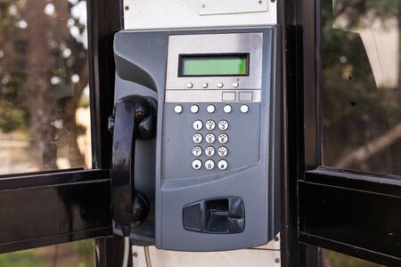 payphone: close up of the public pay phone Stock Photo