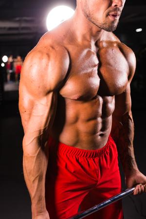 Brutal strong athletic men pumping up muscles workout bodybuilding concept background - muscular bodybuilder handsome men doing exercises in gym.