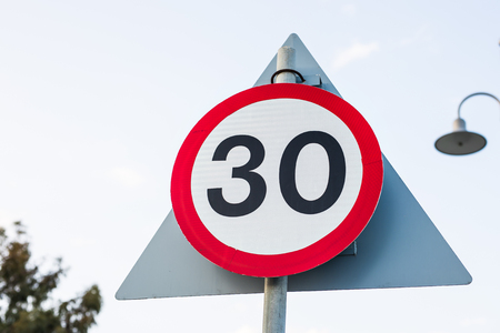 Road sign speed limit to 30