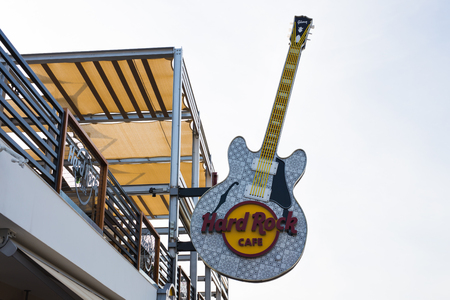 CYPRUS - FEBRUARY 19: Sign of Hard Rock Cafe in Ayia Napa. February 19, 2017 Editorial