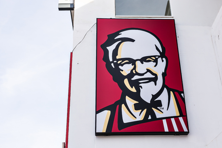 AYIA NAPA, CYPRUS - FEBRUARY 19, 2017: Kentucky Fried Chicken (KFC) restaurant, fast food. KFC is a fast food restaurant chain that specializes in fried chicken Editorial