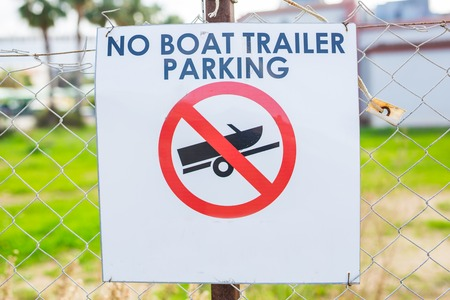 No Boat Trailer Parking Sign in the street Stock Photo