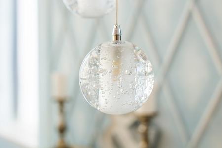 chandelier background: glass balls. interior decor