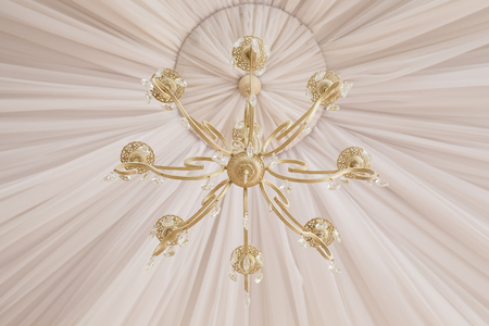 chandelier background: Close-up of a beautiful white crystal chandelier