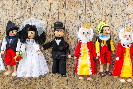 Traditional puppets made of wood. Shop in Prague - Czech Republic.