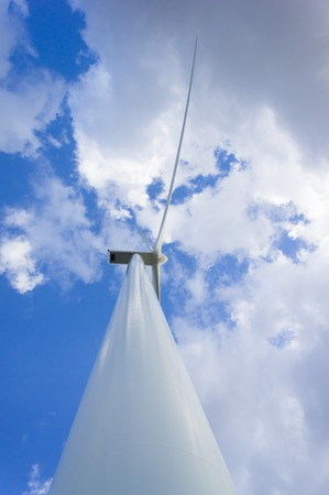 Wind energy turbine generating electricity. Eco power. Stock Photo