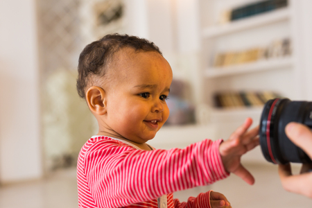 look latino: Portrait of a cute little African American boy smiling