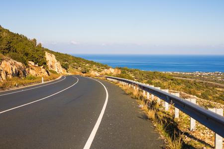 asphalt road and blue sky in summer day