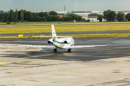 PRAGUE, CZECH REPUBLIC - JUNE 16, 2017: Cessna 680 Citation Sovereign OK-EMA Is preparing to take off Editorial