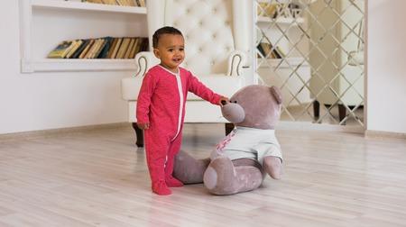 African American baby boy indoors