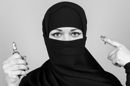 Woman detonates a grenade close-up