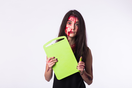 The housewife woman standing with blood and bruises on body. Domestic violence, sexual abuse, human trafficking concept Stock Photo