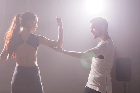 Young love couple dancing social danse kizomba or bachata. Stock Photo