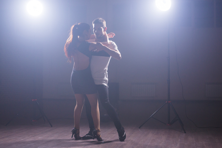 Young love couple dancing social danse kizomba or bachata. Foto de archivo