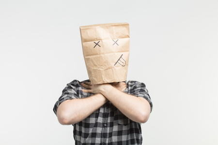 Portrait of men in dead paper bag mask
