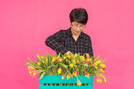 Happy beautiful brunette caucasian middle-aged woman with big box of yellow tulips on pink background.
