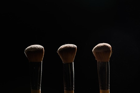 Professional makeup brush with powder on a black background Stock Photo