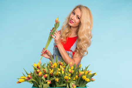 Happy beautiful blonde caucasian woman with big box of tulips on blue background. Stock Photo