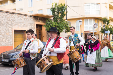 OROPESA DEL MAR, SPAIN - JANUARY 13, 2018: holiday procession on festival of saint Anthony in the street in Oropesa del Mar, Spain