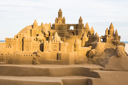 Fantasy city made from sand against a blue sky