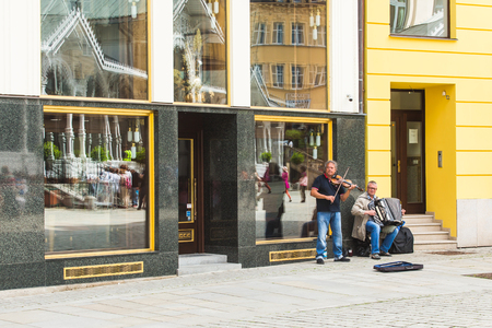 PRAGUE, CZECH REPUBLIC - June 13, 2017: Musicians in summer day in Prague in Czech Republic