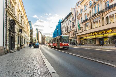 PRAGUE, CZECH REPUBLIC - JUNE 7, 2017: New tram in Prague in a beautiful summer day, Czech Republic