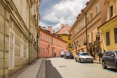 PRAGUE, CZECH REPUBLIC - JUNE 7, 2017: Old Street in Prague at the morning, European travel Editorial