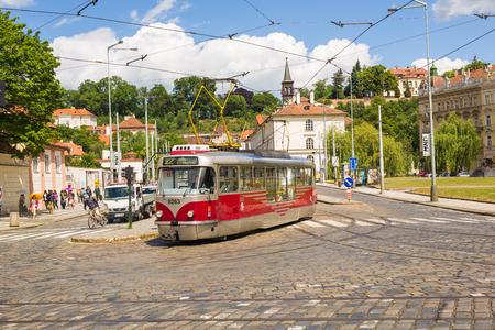 PRAGUE, CZECH REPUBLIC - JUNE 7, 2017: Tram in Prague in a beautiful summer day, Czech Republic Editorial