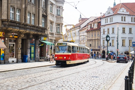 PRAGUE, CZECH REPUBLIC - MAY 31, 2017: Tram in Prague in a beautiful summer day, Czech Republic