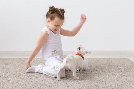 Children, pets and animal concept - Child girl play with her Jack Russell Terrier puppy indoors