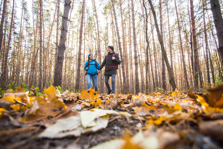 People, camping trip and nature concept - Low-angle shot of tourist couple hiking in forest