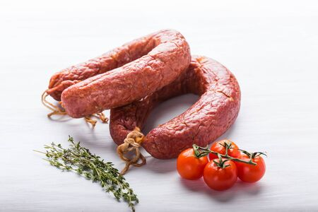 Food, national cuisine and delicious concept - Traditional Central Asian horse meat sausage