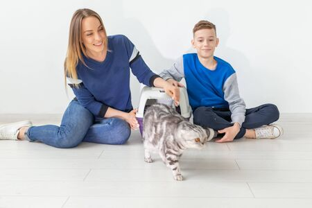 Positive good-looking mother and son launch their beautiful gray Scottish Fold cat into their new apartment after the move. Housewarming and concept.