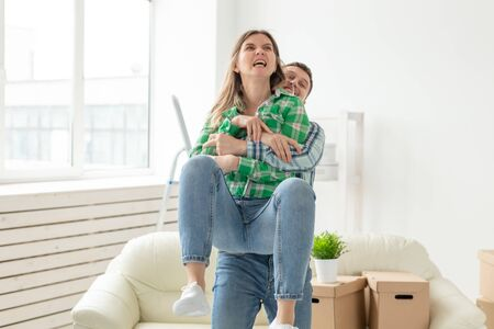 Negative emotions of couples, abuse and family fight concept. Husband and wife arguing and yelling expressive, beating each other and emotional couple having an argument or the quarrel at home Archivio Fotografico